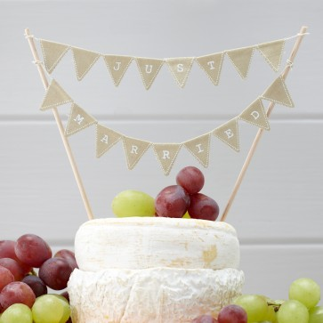 Just Married beige, banderines para tarta