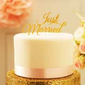 Cake topper Just Married glitter