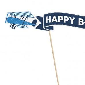 Decoración de tarta cumpleaños avión